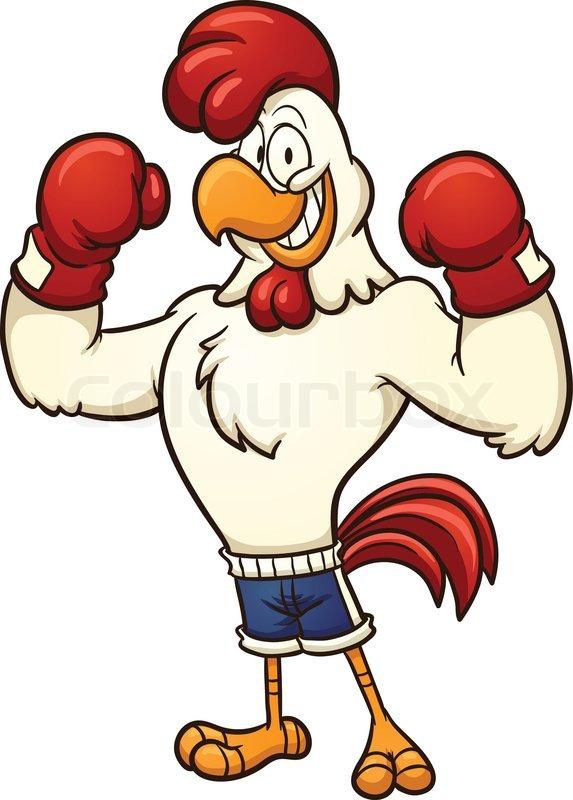Clip art of a boxing chicken. Vector cartoon illustration ...