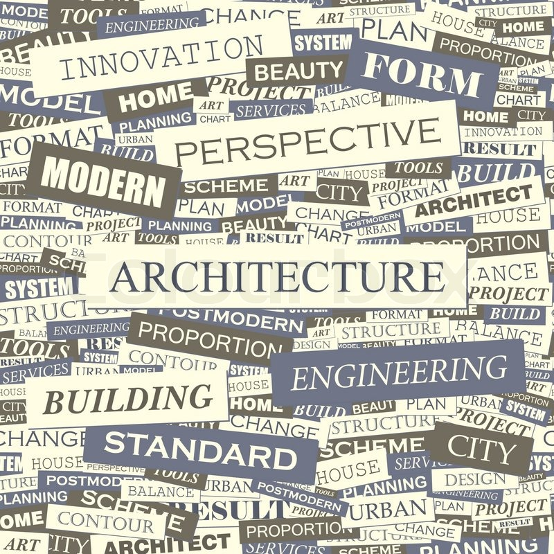 ARCHITECTURE. Seamless Pattern. Concept Related Words In