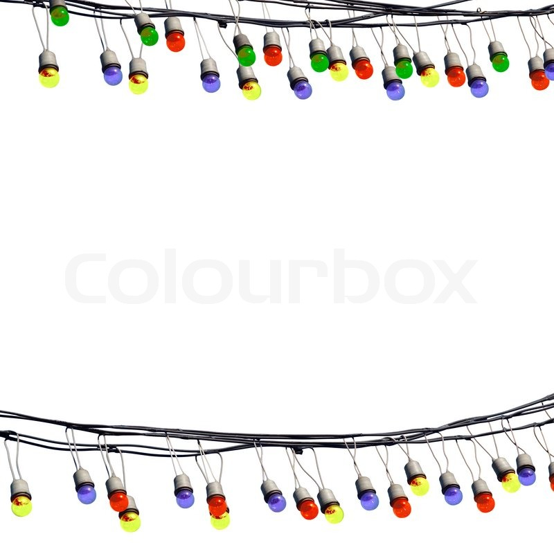 Multicolored party night with a garland light, isolated on white, stock photo