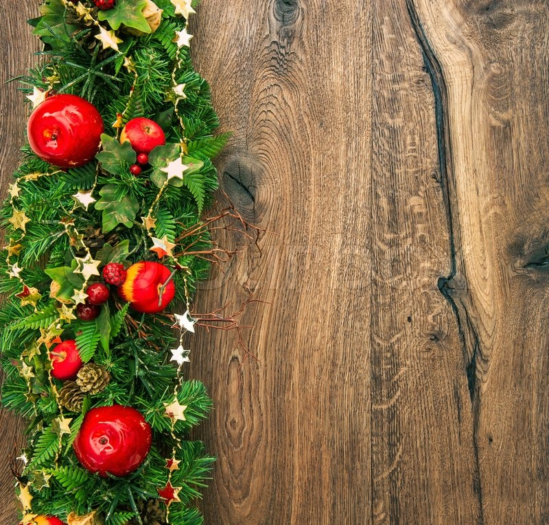 Colorful christmas decoration red green gold on wooden background ...