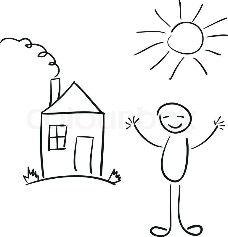 Vector Sketch Of The Happy Man House Stock Vector