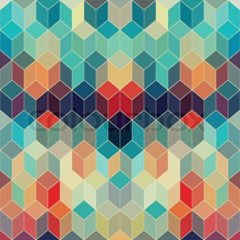 Abstract retro geometric background with place for your text colorful - Hipster Geometric Background Made Of Cubes Retro Hipster