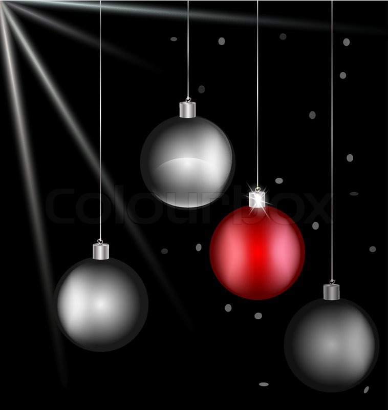 On black background there are black-white and red Christmas balls ...