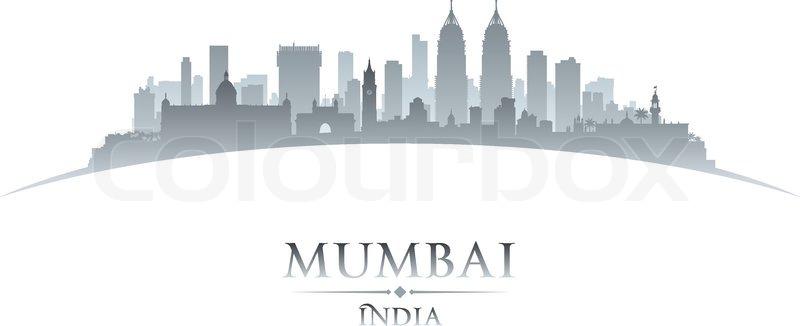 Mumbai India City Skyline Silhouette Vector Illustration