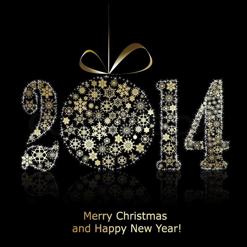 New 2014 year symbol on black backround christmas greeting card new 2014 year symbol on black backround christmas greeting card vector eps10 illustration stock vector colourbox m4hsunfo