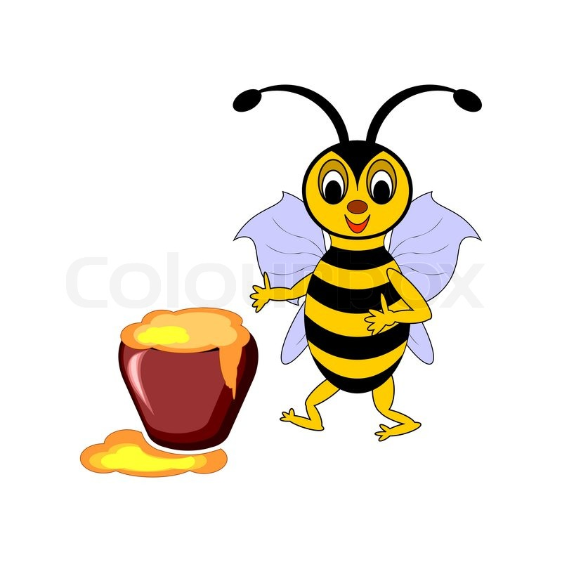 A Funny Cartoon Bee With A Pot Of Stock Vector Colourbox