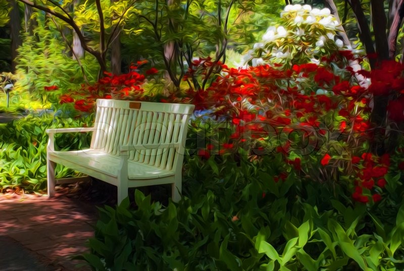 Heavy Duty Counter Stools, Beautiful Manicured Shade Garden With A Stock Image Colourbox