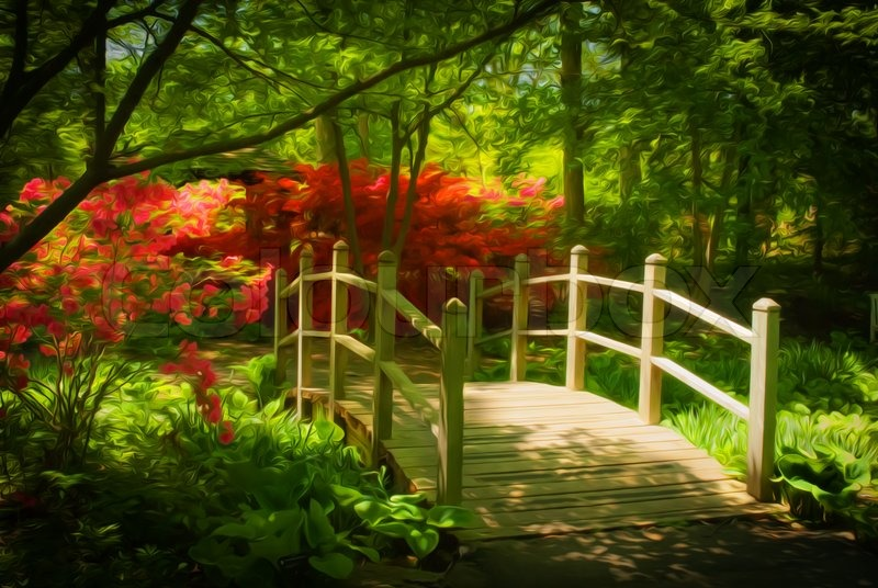 Beautiful Manicured Shade Garden With A Wooden Bridge Surrounded By  Blooming Red Rhododendron And Azalea Shrubs And Trees And Ferns.