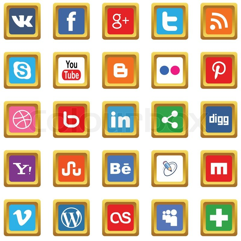 Stock vector of 'New gold social media icons on a white background'