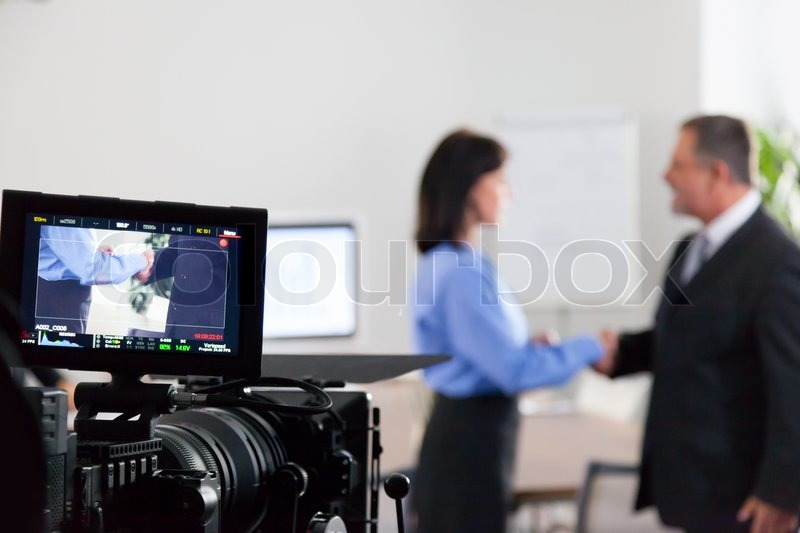 Filming in the Studio with Two Actors, stock photo
