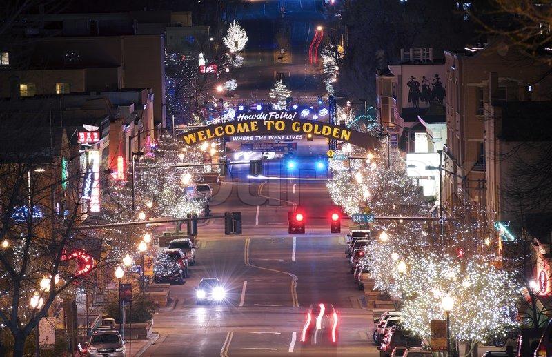Golden Colorado Main Street. Welcome in Golden Colorado. The City of Golden in Christmas Time. , stock photo