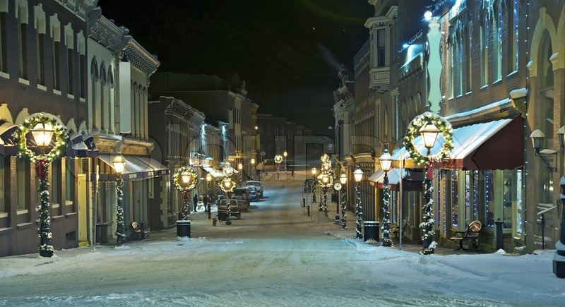 Central City Main Street, Colorado, United States. Central City in Cold Winter Night, stock photo