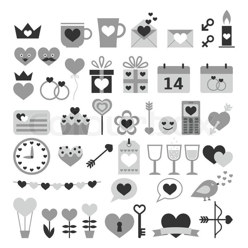 Romantisches Set Für Valentinstag, Datum, Hochzeiten | Vektorgrafik |  Colourbox