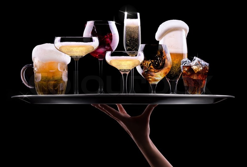 Tray With Different Drinks On Black Background Champagne