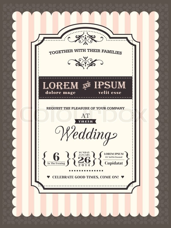 Vintage Wedding Invitation Border And Frame Template  Stock