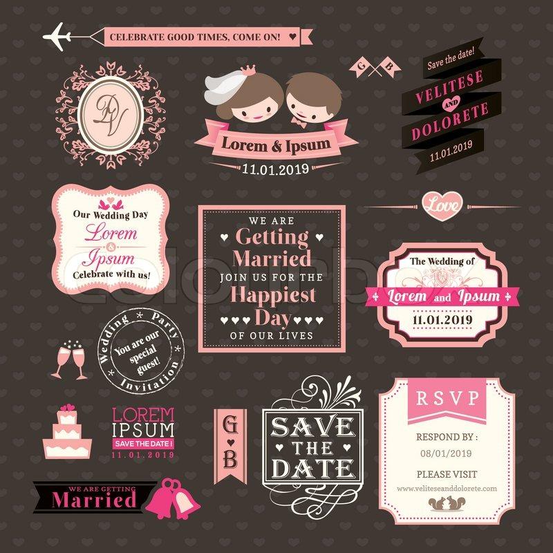 Hochzeit Elemente beschriftet und Vintage-Stil-frames | Vektorgrafik ...