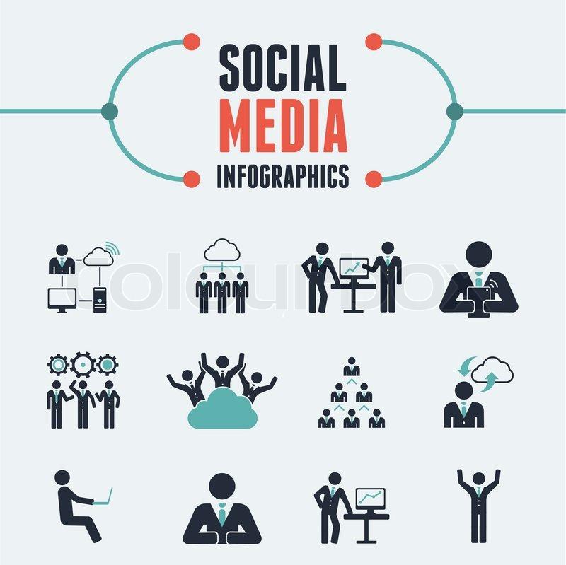 Flat Social Media Infographics plus Icon Set. Vector. | Stock ...