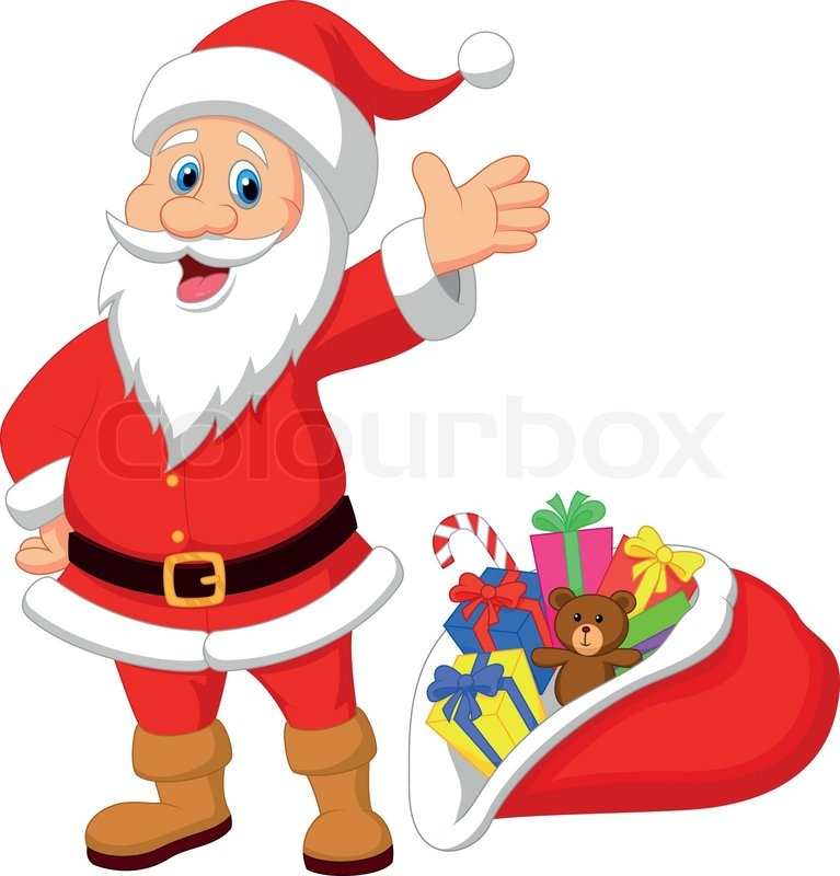 vector illustration of happy santa clause cartoon with gift | stock