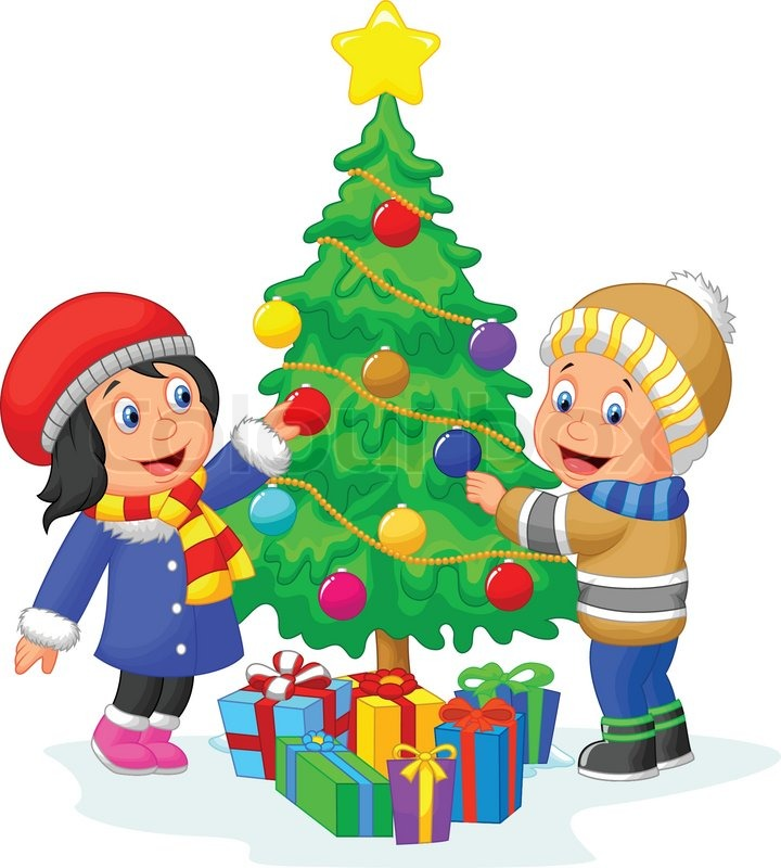 Vector illustration of happy kids cartoon decorating a for X mas decorations for kids
