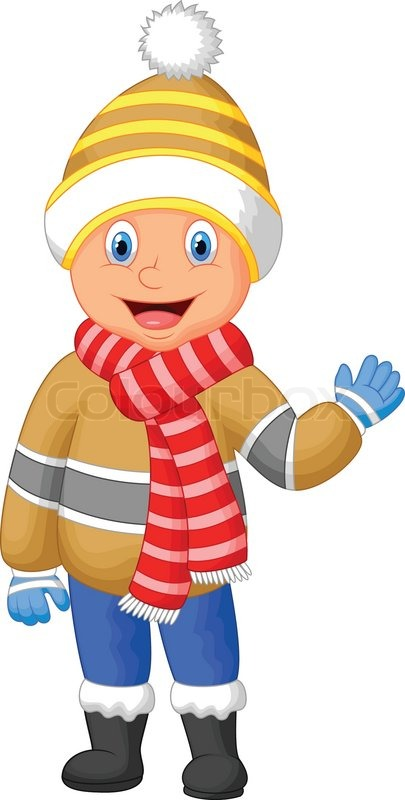vector illustration of cartoon a boy in winter clothes