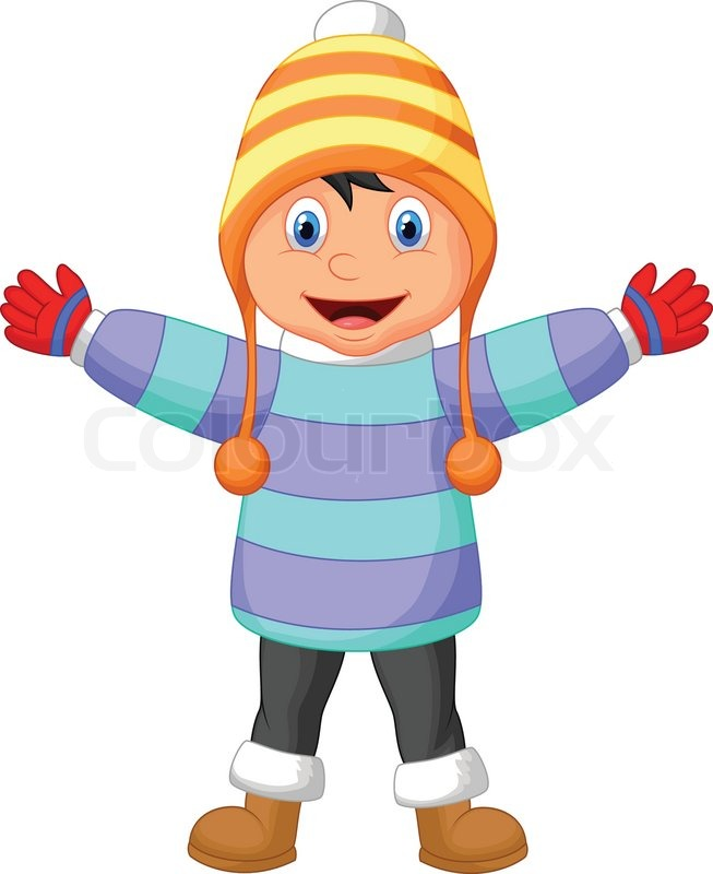 Vector illustration of Cartoon a boy in Winter clothes ...