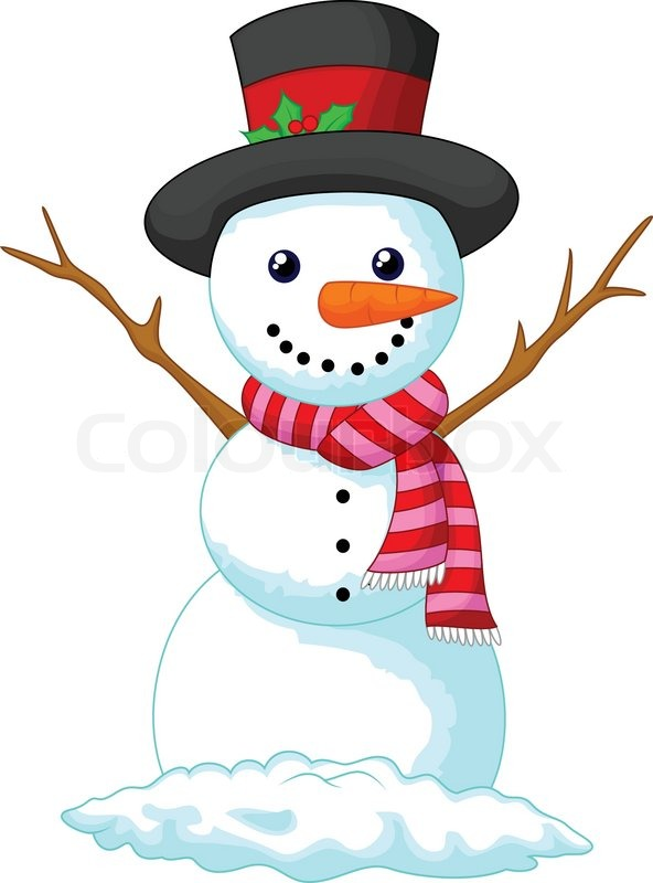 Vector illustration of Christmas Snowman cartoon wearing a Hat and red scarf | Stock Vector