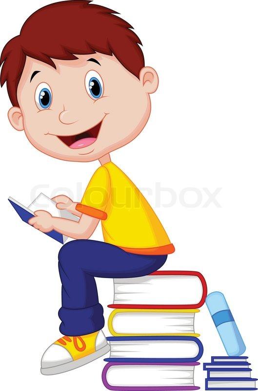 Cartoon Characters Reader : Vector illustration of boy cartoon reading book stock