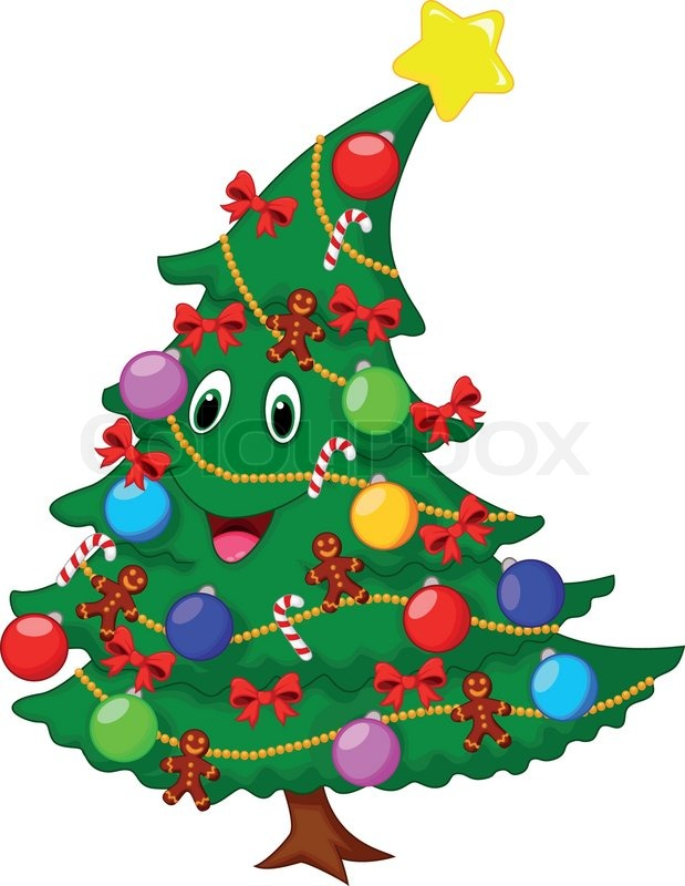 Vector Illustration Of Christmas Tree Cartoon Character