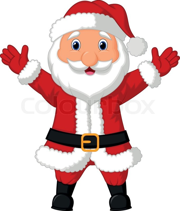 Vector illustration of santa cartoon waving stock