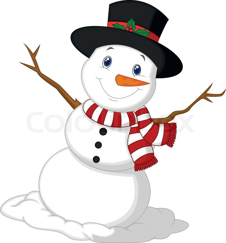 vector illustration of christmas snowman cartoon wearing a hat and red scarf stock vector colourbox - Snowman Christmas