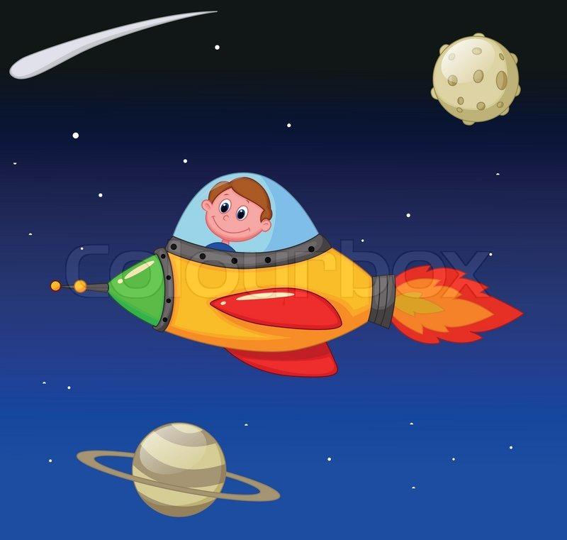 Vector Illustration Of Cartoon Boy Astronaut In The Spaceship