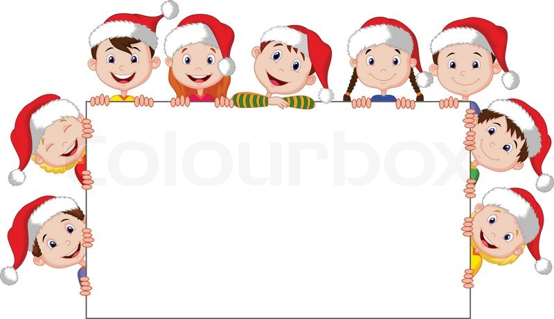 vector illustration of kids cartoon with a blank sign and christmas hats stock vector colourbox - Kids Christmas