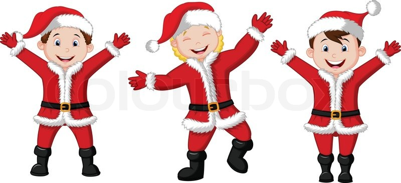 Vector illustration of happy children cartoon in santa