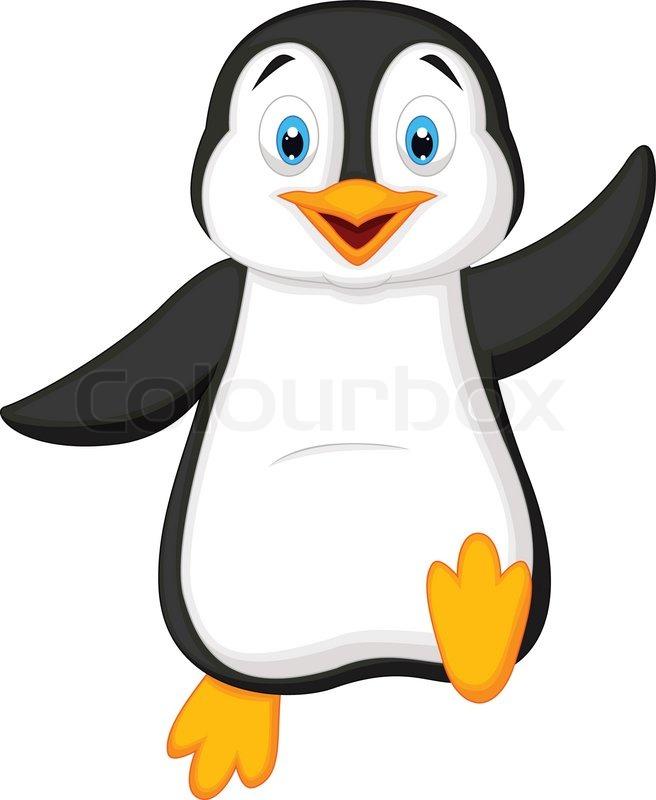 Niedlichen pinguin cartoon winken vektorgrafik colourbox for Disegno pinguino colorato