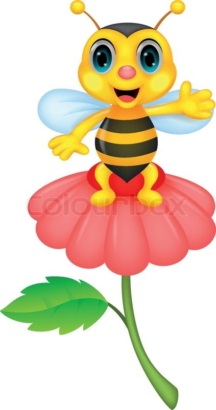 vector illustration of cute little bee cartoon on red Bee Silhouette Bee Vector Art