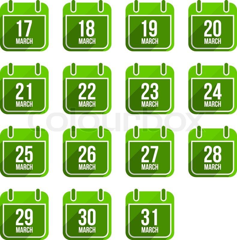Calendar Days Icon.March Vector Flat Calendar Icons With Stock Vector Colourbox