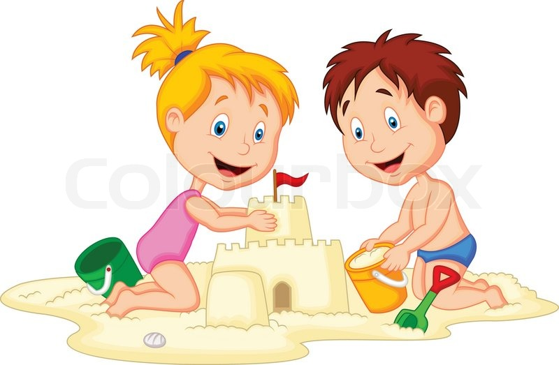 Sandburg clipart  Kinder cartoon machen Sandburg   Vektorgrafik   Colourbox