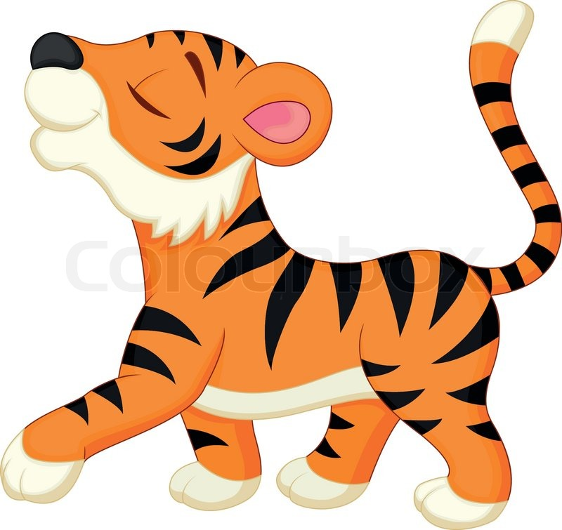 vector illustration of cute tiger cartoon stock vector colourbox rh colourbox com tigers animated pictures tiger cartoon images to draw
