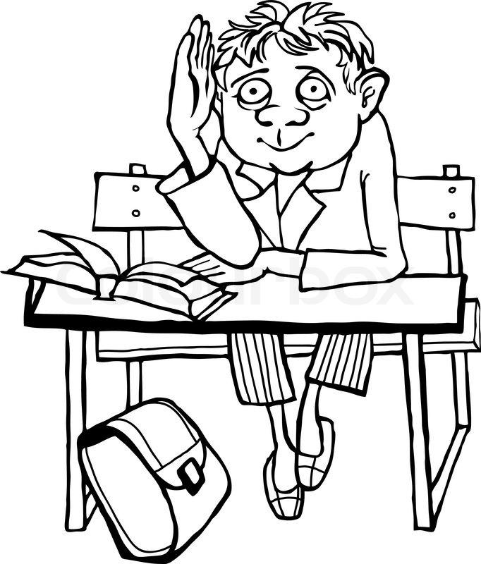 Schulbank zeichnung  Kontur zeichnen. Schüler auf der Schulbank | Vektorgrafik | Colourbox