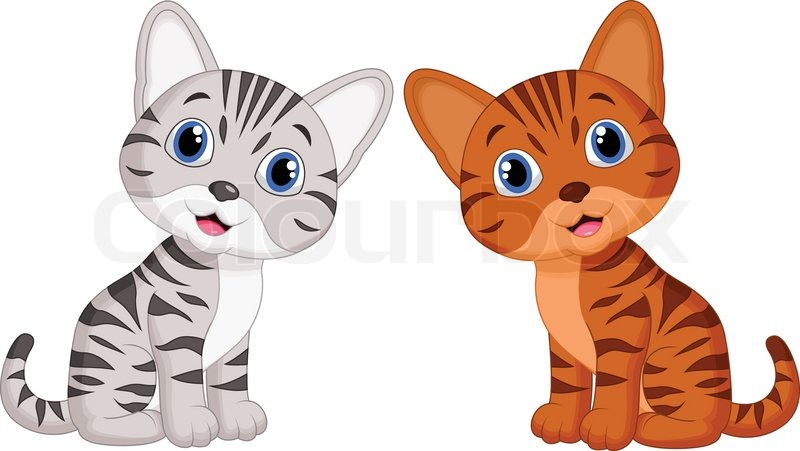 vector illustration of cute baby cat cartoon stock vector colourbox rh colourbox com cat cartoon images hd cat cartoon images drawing