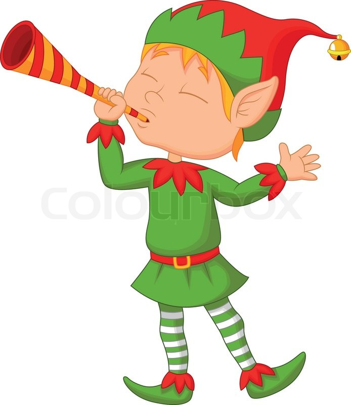 Vector illustration of Elf cartoon with trumpet | Stock ...