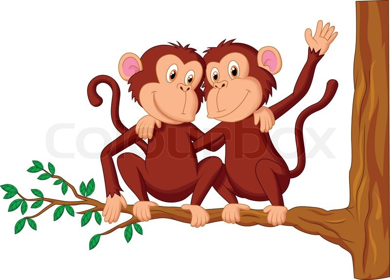 Two monkeys hugging drawing - photo#26
