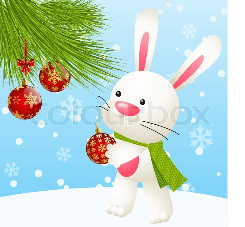 Funny Rabbit With Christmas Tree Stock Vector Colourbox