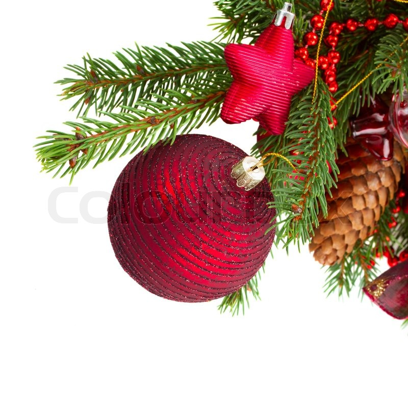 immergr ner baum und red christmas ball hautnah stock. Black Bedroom Furniture Sets. Home Design Ideas