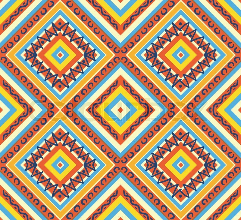 Seamless colorful aztec pattern Stock Vector Colourbox Adorable Aztec Pattern