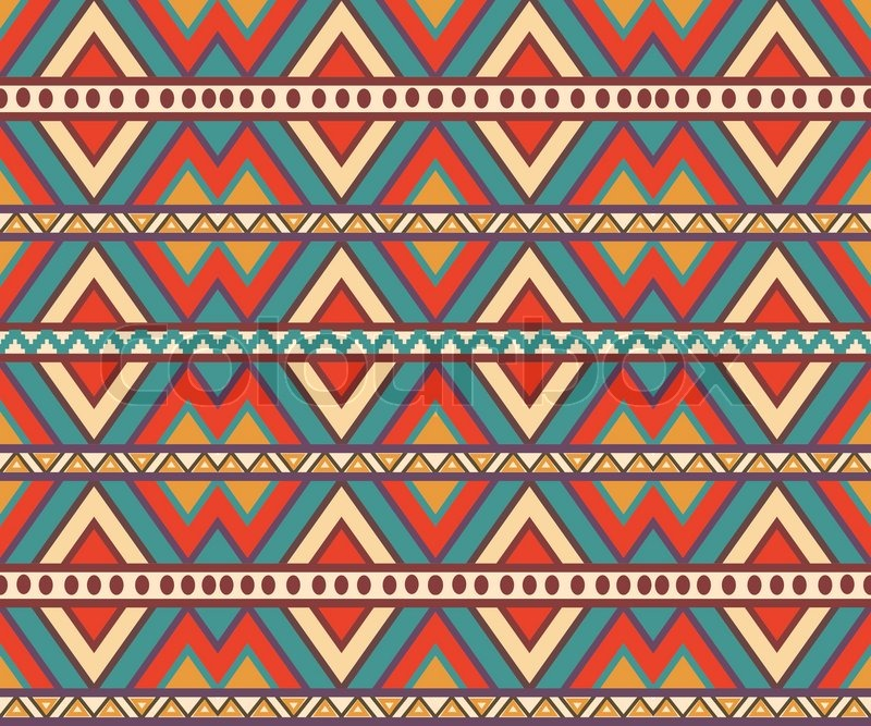 Seamless colorful aztec pattern Stock Vector Colourbox Impressive Aztec Pattern