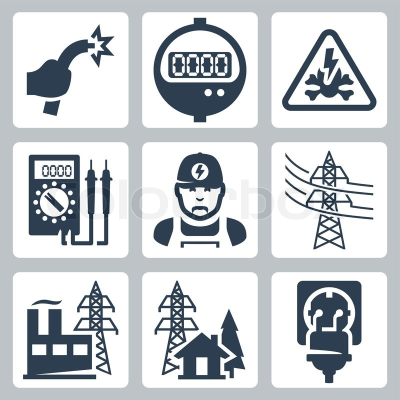 Vector power industry icons set: bared wire, supply meter, danger ...