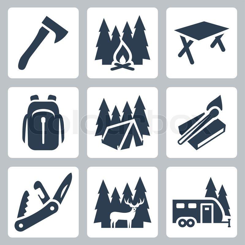 Vector Camping Icons Set Axe Campfire Camping Table