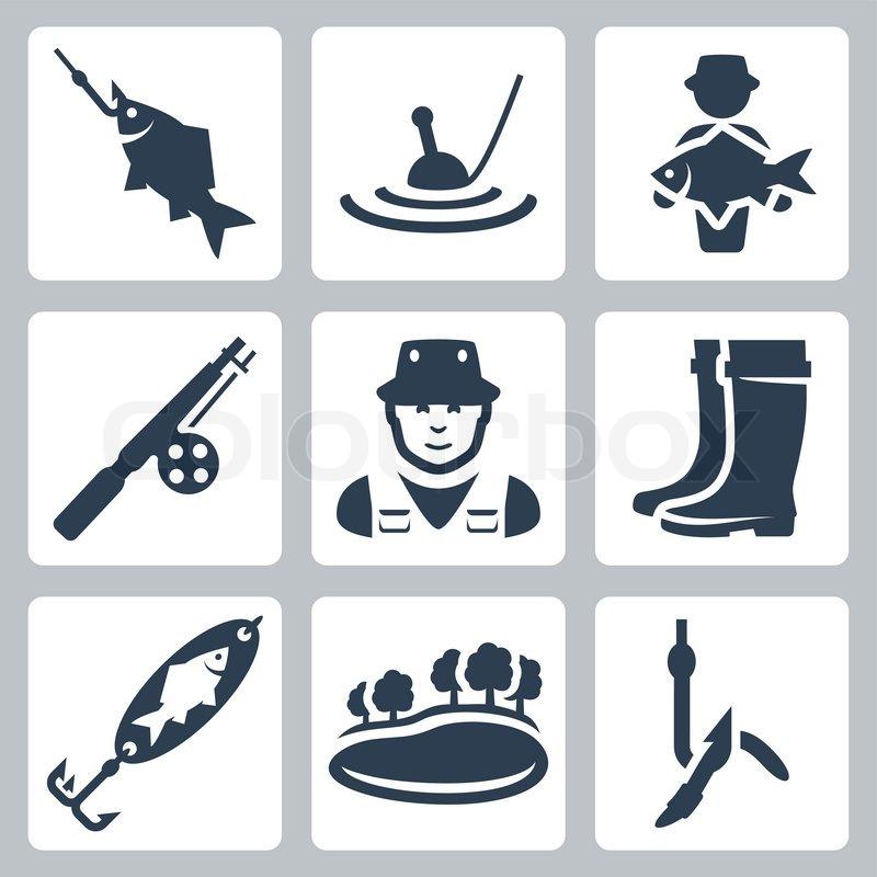 Vector Fishing Icons Set Fish On A Hook Float Big Fish Fishing