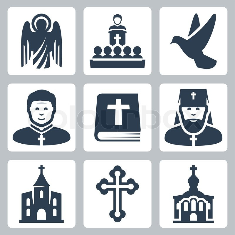 Vector Christian religion icons set, vector
